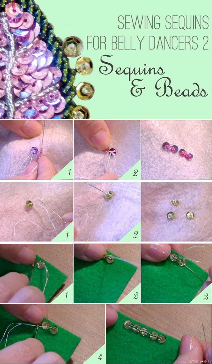 How To Sew Sequins For Belly Dancers 2: Sequins And Beads  Sparkly Belly