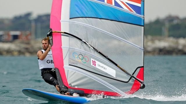 Britain's Nick Dempsey sails during the third race of the men's RS-X sailing class at the London 2012 Olympic Games in Weymouth and Portland (Reuters)
