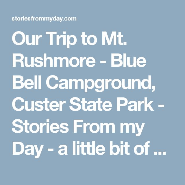 Our Trip to Mt. Rushmore - Blue Bell Campground, Custer State Park - Stories From my Day - a little bit of a lot