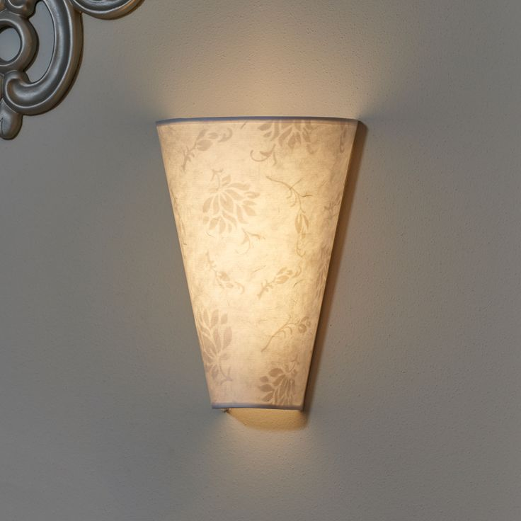 Moire Pattern Fabric Shade Sconce: Wireless, Conical LED Battery Powered U0026 Wireless  Sconce.