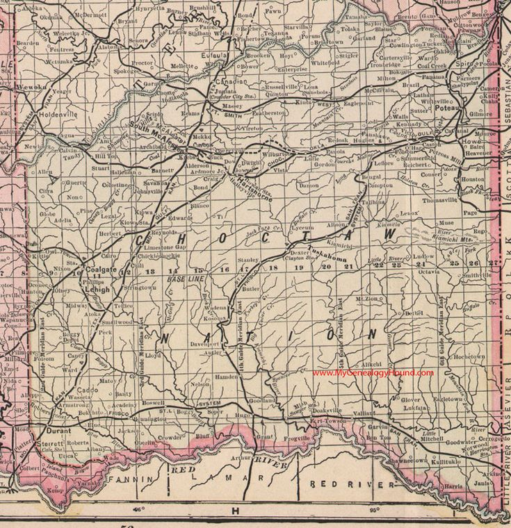 Choctaw Nation Map Indian Territory Oklahoma Poteau Durant - Okla map