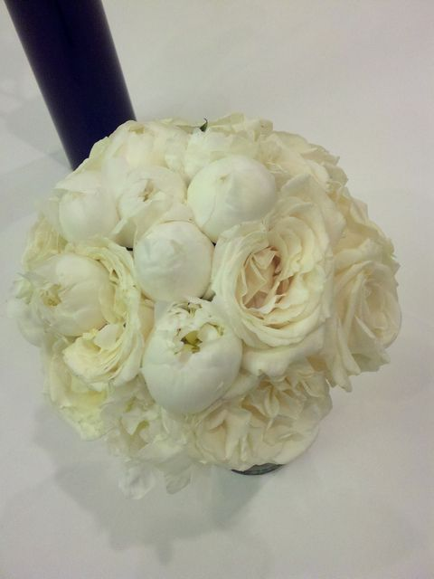 white peony and white garden rose bridal bouquet by dream designs florist
