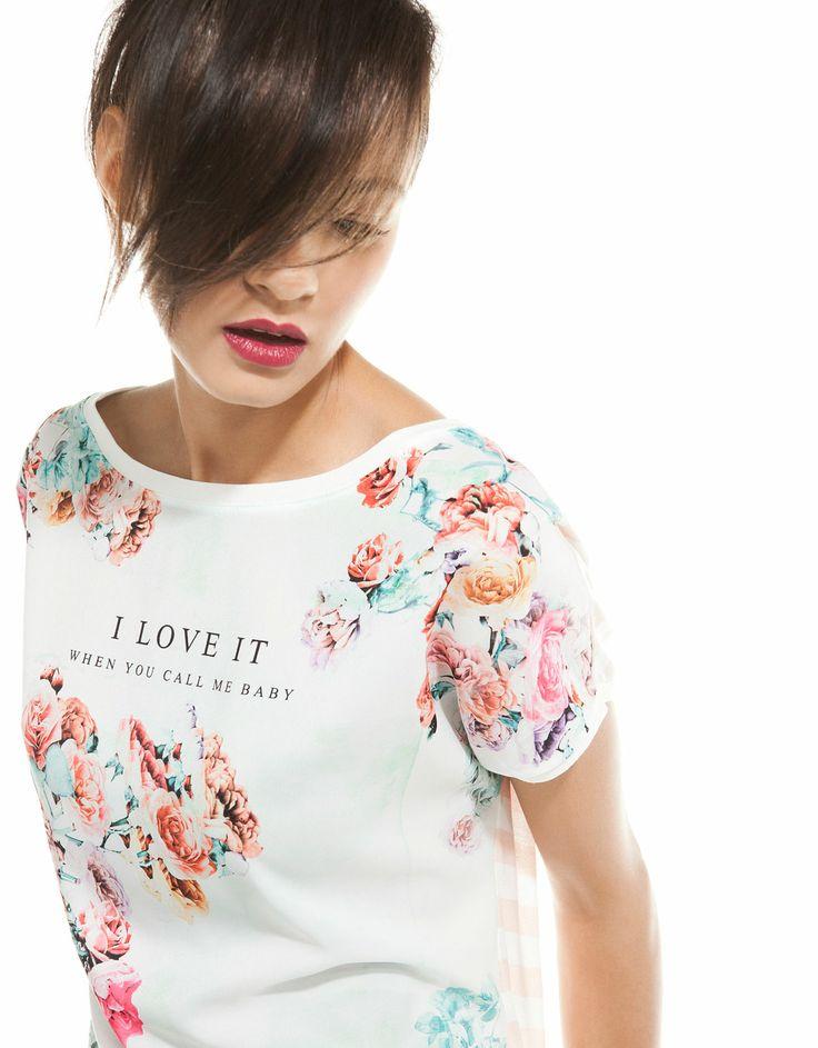 Bershka United Kingdom -Bershka flowers & stripes T-shirt