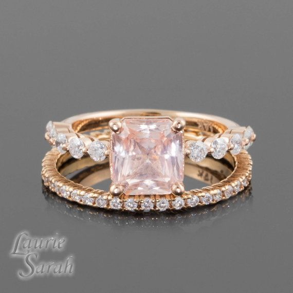 2 carat Padparadscha Sapphire 14kt Rose Gold Engagement Ring with Diamond Wedding Band - LS3098