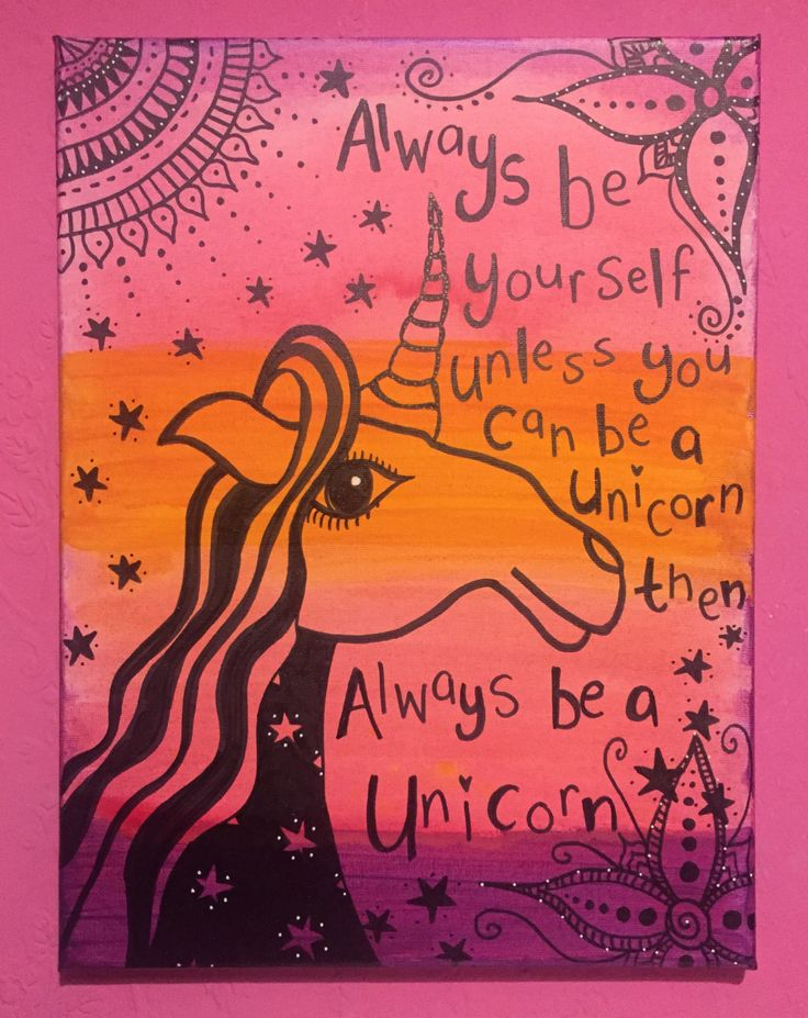 Always be yourself unless you can be a unicorn original bohemian artwork print, girls bedroom, stars, fairytale, home decor by Dottydelightful on Etsy