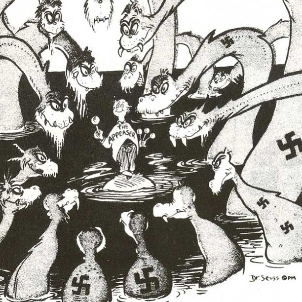 "Today in WW2 history: 3/2/04 Dr. Seuss is born in Springfield Mass.   This cartoon caption from 8/13/41 read,""Remember... One more lollypop, and then you all go home!"" Theodor Suess Geisel was responding to calls from Charles Lindbergh and others to refrain from intervention in ""Europe's War,"" a popular stance in the USA at the time."