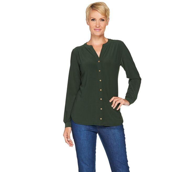 Susan Graver Textured Liquid Knit Y-Neck Button Front Shirt