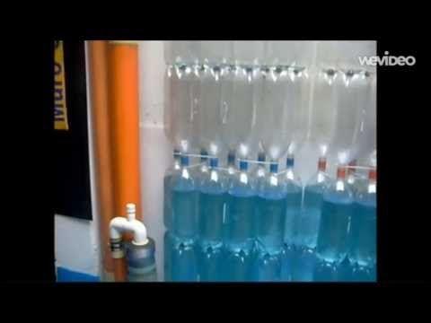 Ekomuro H2O+. Tanque modular vertical para almacenar agua de lluvia reutilizando botellas PET