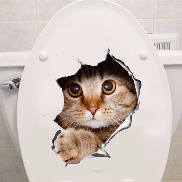 ビニール防水猫3dウォールステッカー穴ビュー浴室トイレリビングルーム家の装飾デカールポスターの背景ウォールステッカー