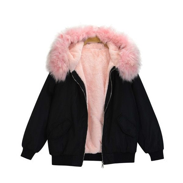 LIMITED Imitation Fur Bomber Jacket (1.602.290 IDR) ❤ liked on Polyvore featuring outerwear and jackets