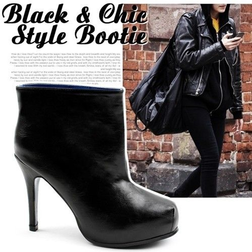 SHOESONE Korean Runway Celebrity Black High Heels Platform Wide Ankle Boots
