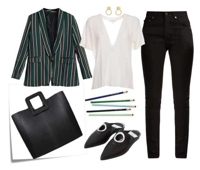 Throw a statement blazer over a basic outfit for a simple chic office look! Office Chic by tmrw-studio on Polyvore featuring #IRO #YvesSaintLaurent #PostIt #tmrwstudio #tmrwstudionyc #officelook #chicoutfit #officechic #chicstripejacket #semiformal #semicasual #essentials #handbags #tote #ANTONIO #shoes #mules #DUMBO #fw17 #resort17 #nyfw #streetstyle #officewear #newyorkcity #nyc #trendy #contemporary #trendyoffice #girlboss #polyvore #tictail #fancy