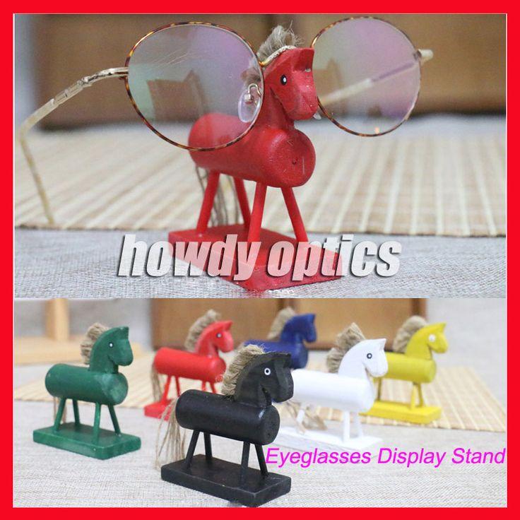 6pcs/lot Wooden Horse Decoration Sunglasses Display Stand Lovely Children Kids Eyeglasses Glasses Display Stand Holder