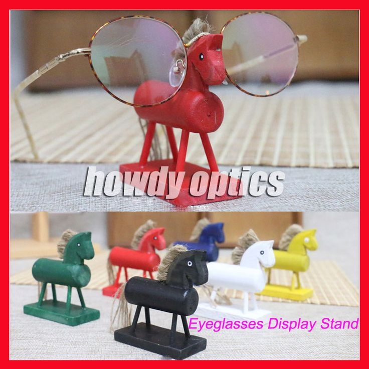 6pcs/lot Wooden Horse Decoration Sunglasses Display Stand Lovely Children Kids Eyeglasses Glasses Display Stand Holder