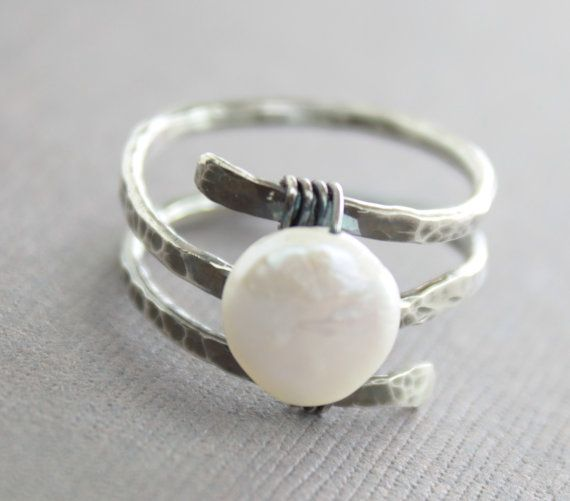 Sterling silver ring in spiral with wrapped coin by IngoDesign,