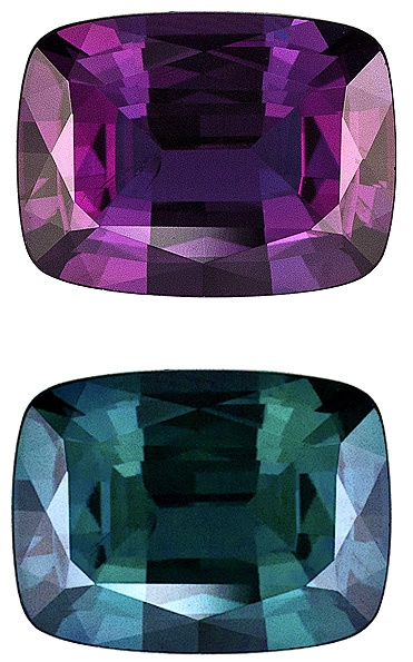 Alexandrite... my birthstone that I will never be able to afford... Changes color based on light... Even the fake one are not cheap!