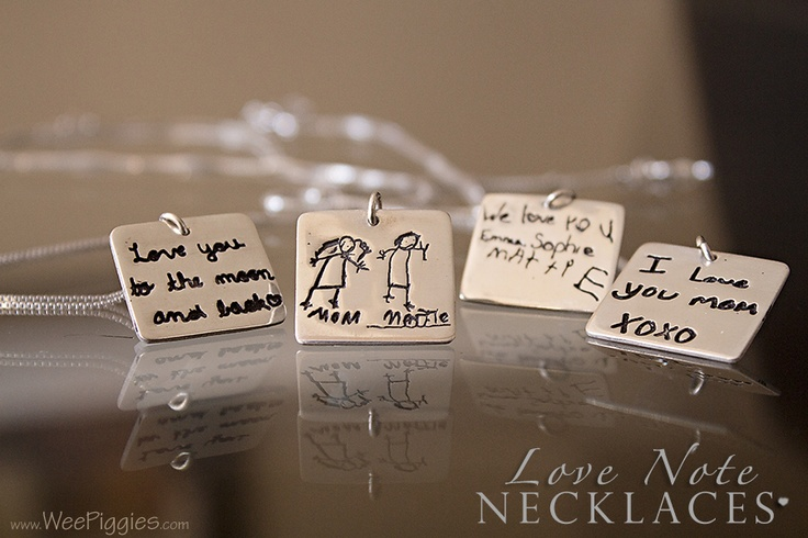 Child-inspired art is stamped onto Sterling #Silver necklaces. www.WeePiggies.com for more info