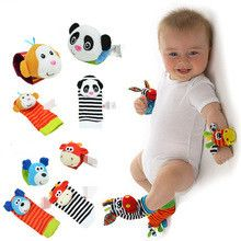 4pcs/lot Baby Rattle Toys For 0-12 Months Baby Garden Bug Wrist Rattle And Foot Socks Baby Soft Toys Chrismas Gift