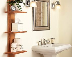 Bathroom shelving unit -- I've been meaning to make this forever. The article also has several other good storage ideas