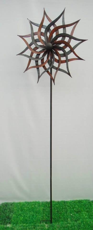 Kinetic Wind Sculpture Sun Spinner Metal Large Outdoor Pinwheel