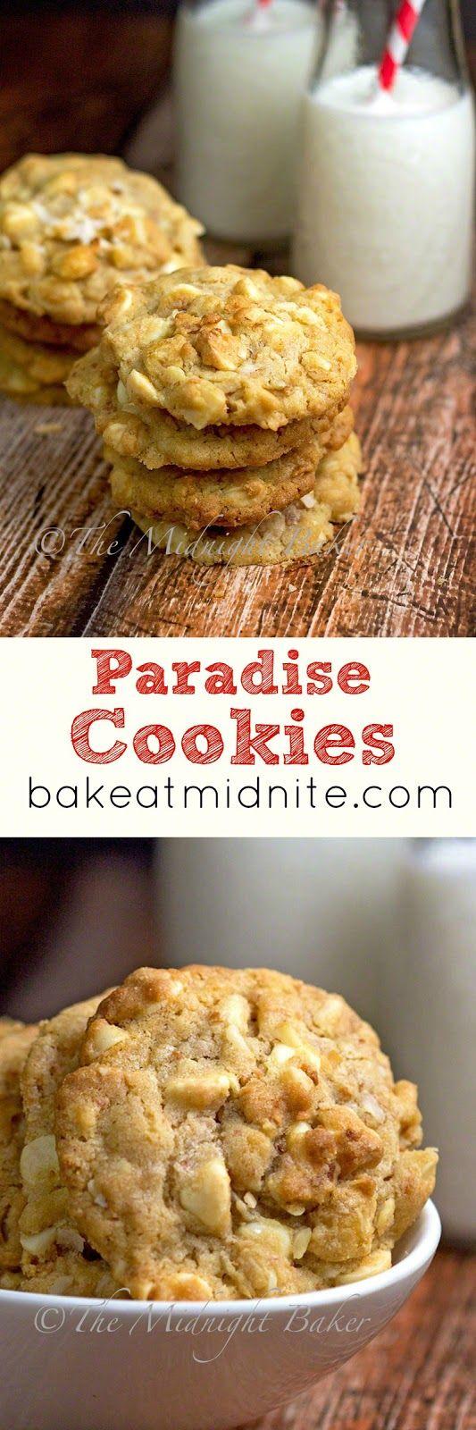 Paradise Cookies   bakeatmidnite.com   #cookierecipes #coconut #macadamianuts #whitechocolate