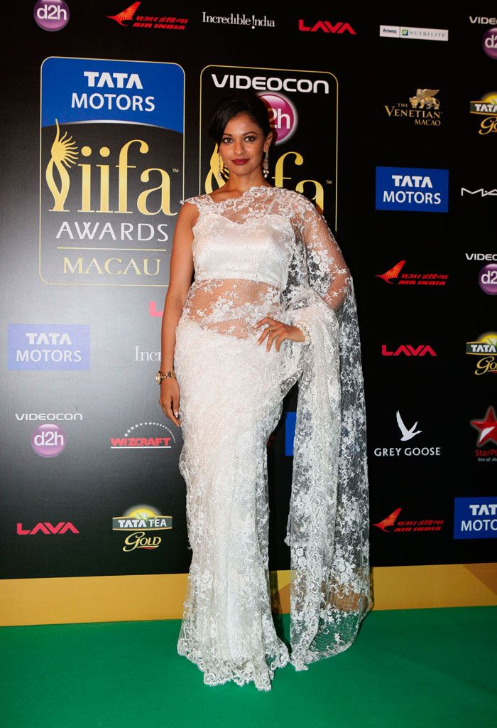 diana-penty in white lace saree