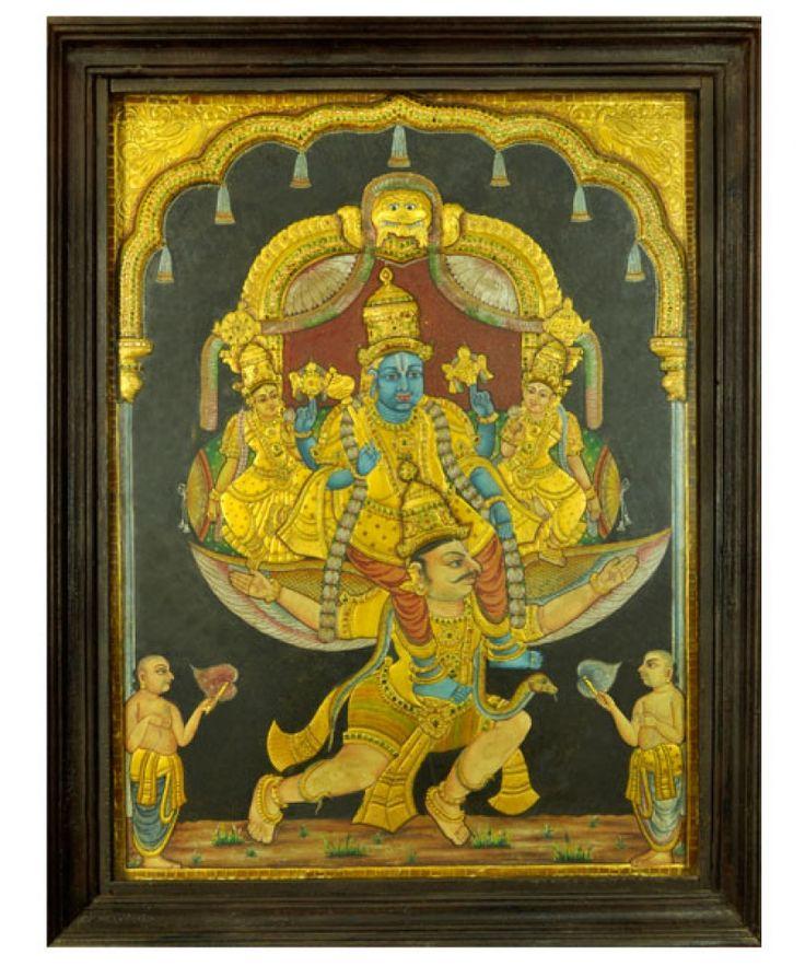 Garuda Seva See more at https://www.madhurya.com/tanjore-paintings.html #tanjorepaintings #paintingsinbangalore