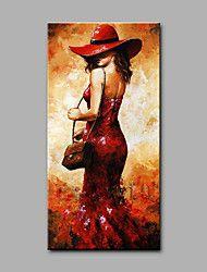 Pintados à mão Pessoas Vertical,Arte Deco/Retro 1 Painel Tela Pintura a Óleo For Decoração para casa