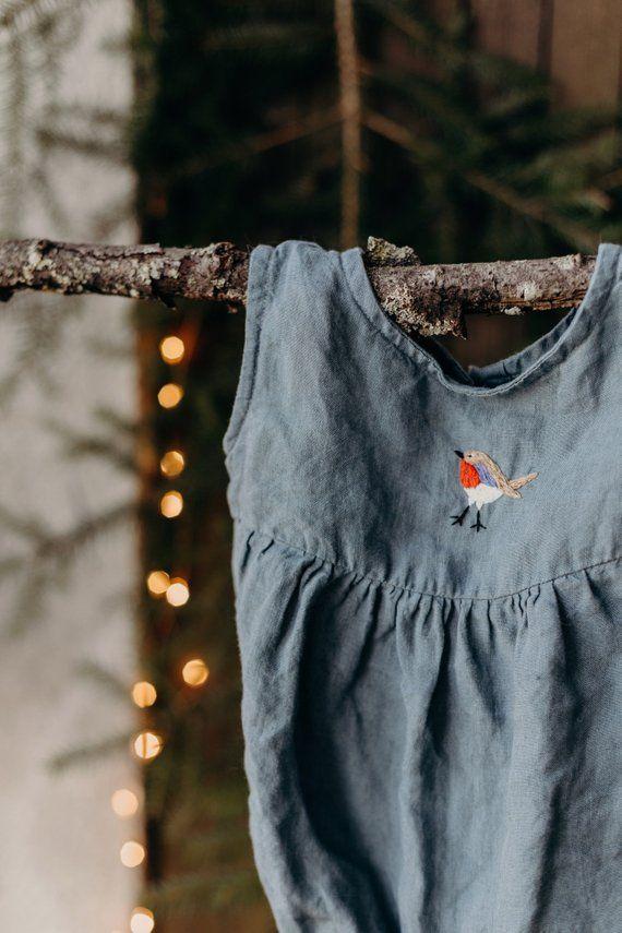 725d5776f39e Linen Romper, Hand Embroidery, Dusty Blue Baby Romper, Linen Kids Clothing, Linen  Baby Romper, Toddler Romper, Baby Clothes, Kids Clothes