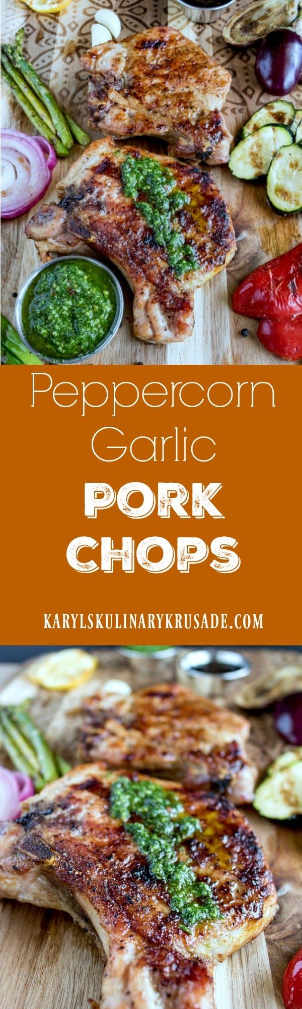 Peppercorn Garlic Pork Chops. Thick-cut pork chops, seasoned and seared in butter, and finished on the grill. These pork chops, combined with assorted grilled pork chops, will be a hit with your entire family