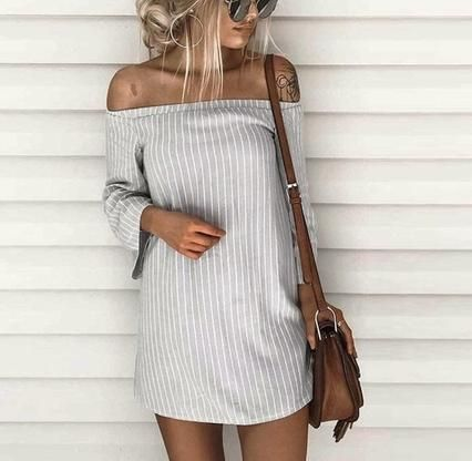 VenusFox Striped Off Shoulder Shirt Dress – Sarababaei
