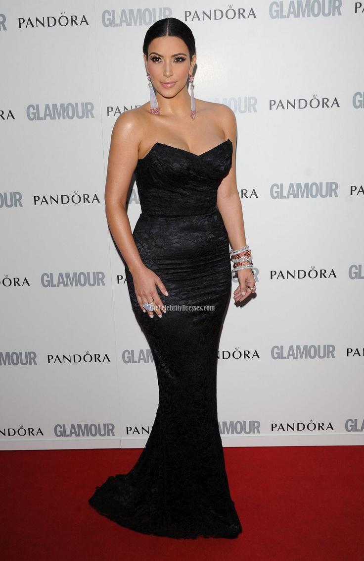 Dress black kim kardashian - Kim Kardashian Black Lace Evening Dress Glamour Women Of The Year Awards