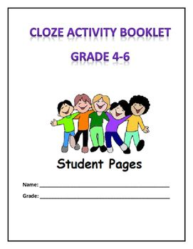 Cloze reading activities for grade 4 to 6. Includes student cover page, 10 activity pages, and answer key for instructor. Great value!