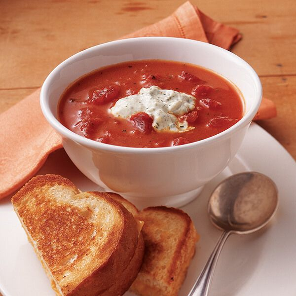 Tomato soup gets a lift from basil in this easy recipe. Use convenient ingredients for a crowd-pleasing, quick tomato basil soup.