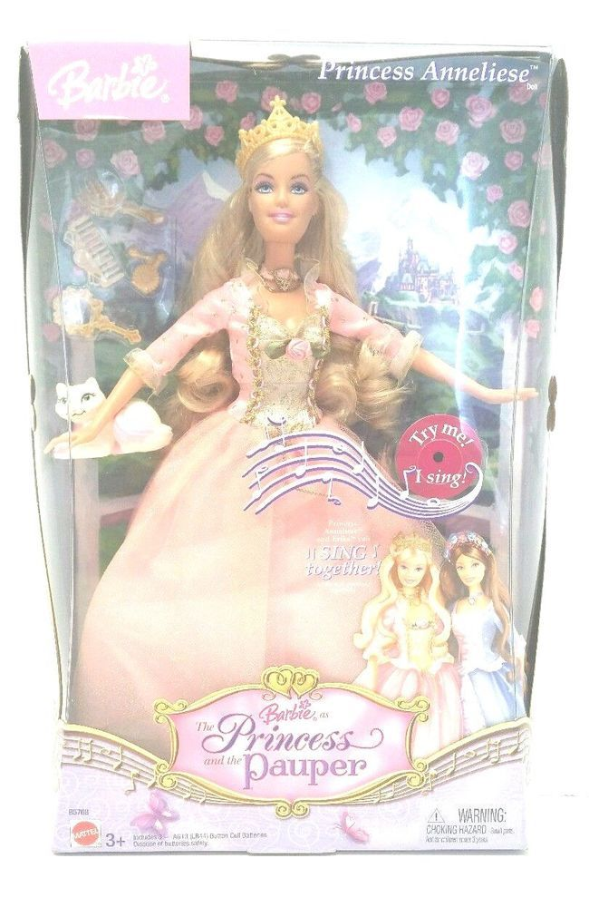 Barbie Princess and The Pauper Anneliese and Cat Erika Singing Doll Pink Dress #Mattel #Dolls