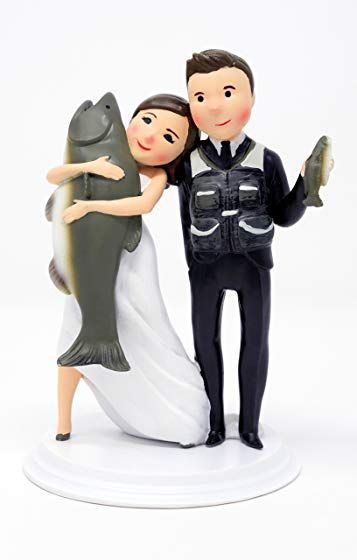 Wedding Cake Toppers - Unique and Funny Fishing Wedding Cake Toppers Bride and Groom (Light Skin - Dark Hair) Review