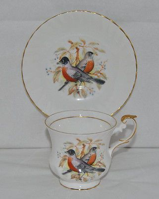 "Outstanding Queens, Rosina ""Birds Of America"" Fine Bone China Tea Cup and Saucer"