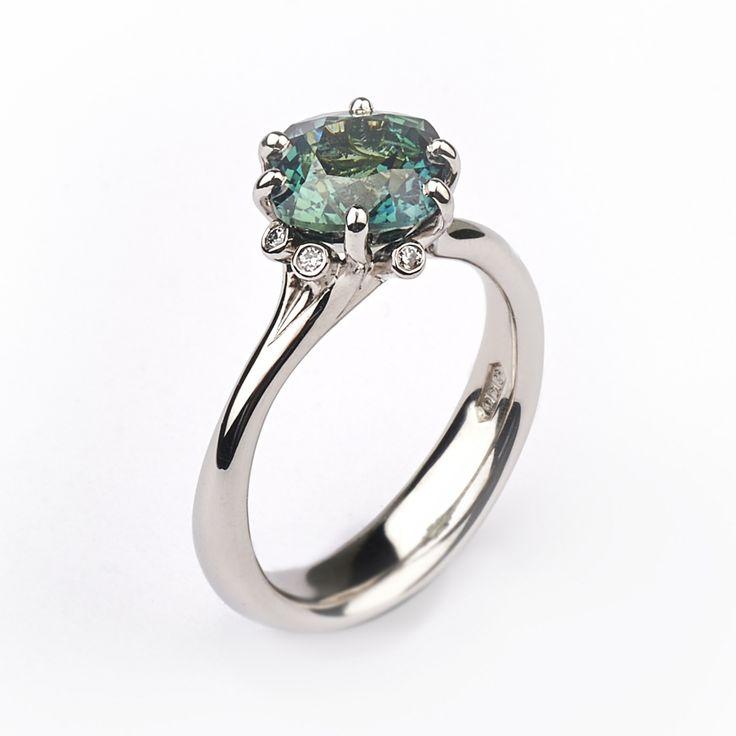 3.01ct cushion cut green sapphire, Summer Meadow ring in Fairtrade platinum #JonDibben #Fairtradegold #Fairtrade #sapphire