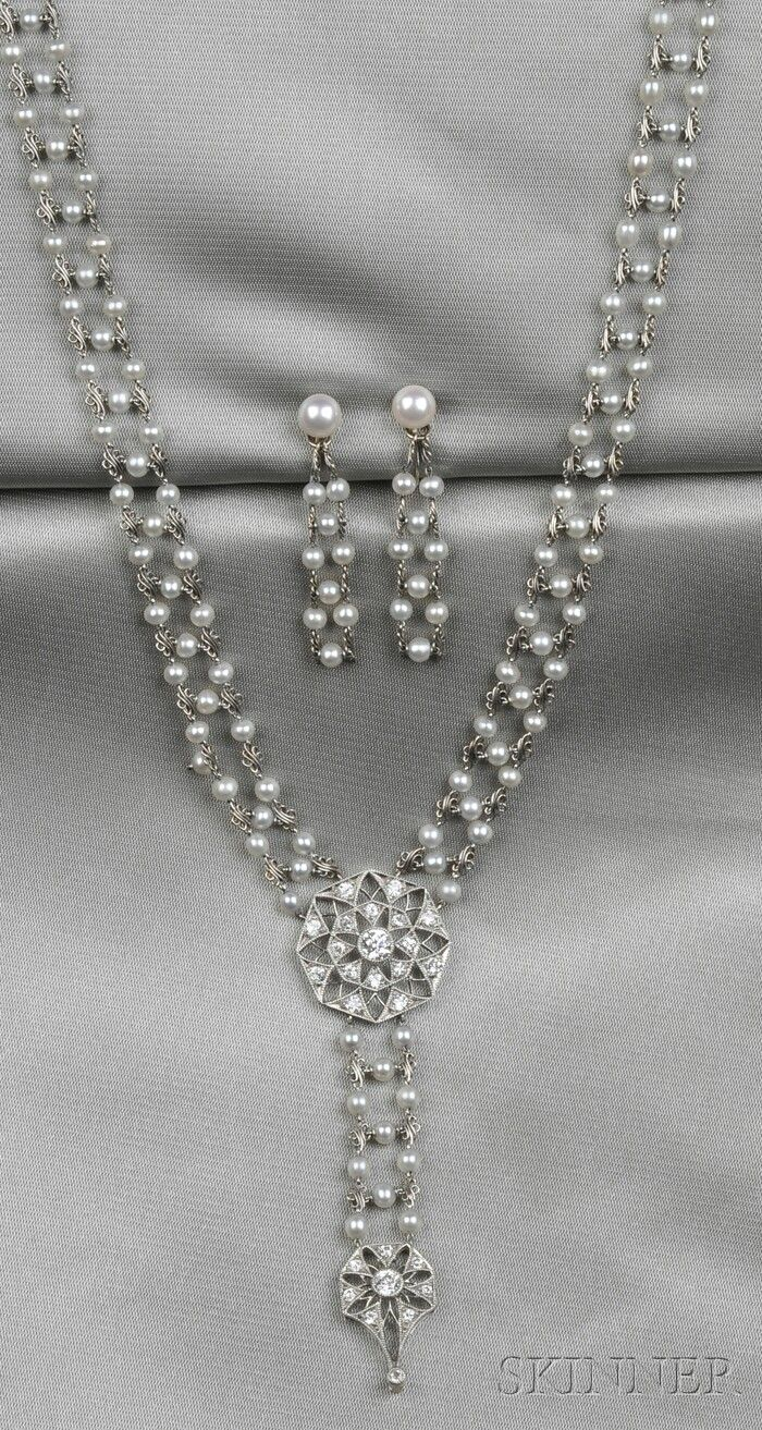 Edwardian Platinum, Seed Pearl, and Diamond Necklace ...