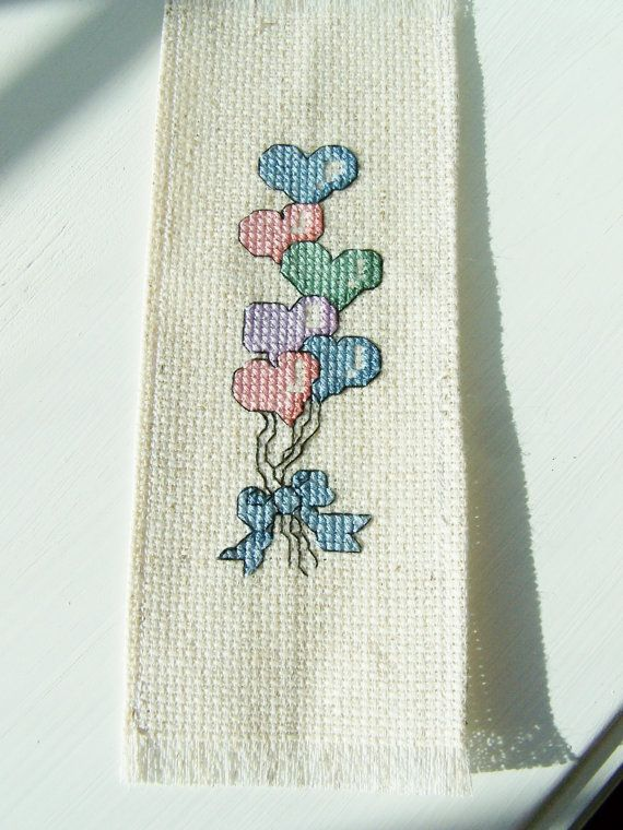 Cruz puntada marcador corazón globo ramo favorito, globos rosados, azules, marcador, bordados página marcador libro regalo de amante, Stocking Stuffer