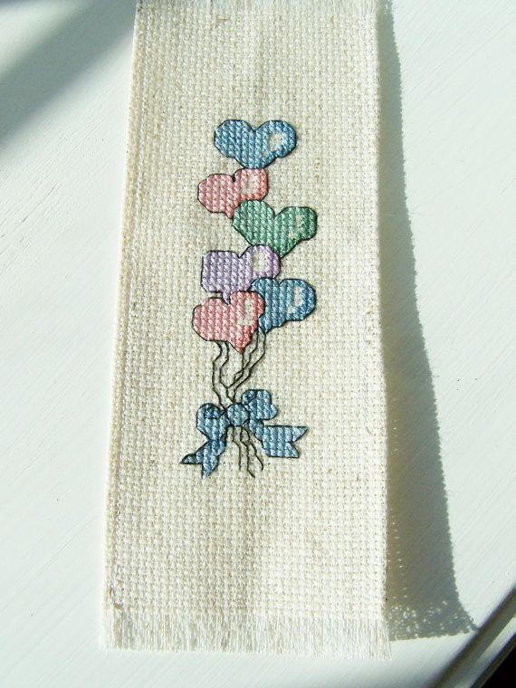 Cross Stitch Bookmark Heart Balloon Bouquet by WitsEndDesign