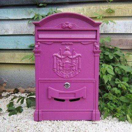 Mediterranean style pink mailbox Caribbean island newspapers and magazines Post Office Box free shipping