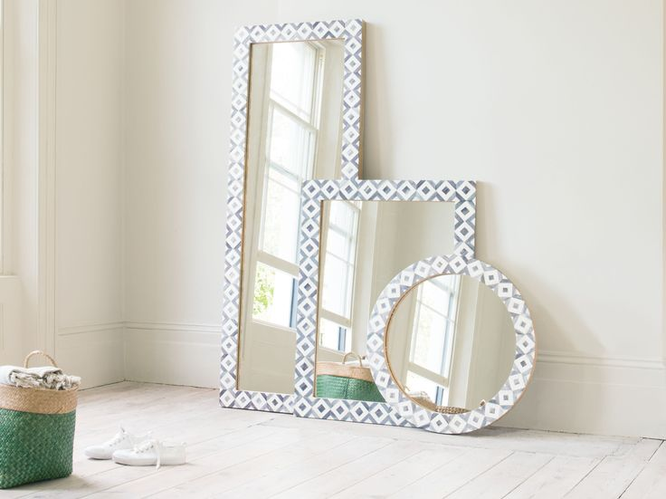 Bone inlay mirrors which evoke a sense of wanderlust! Perfect for adding a statement to a wall..