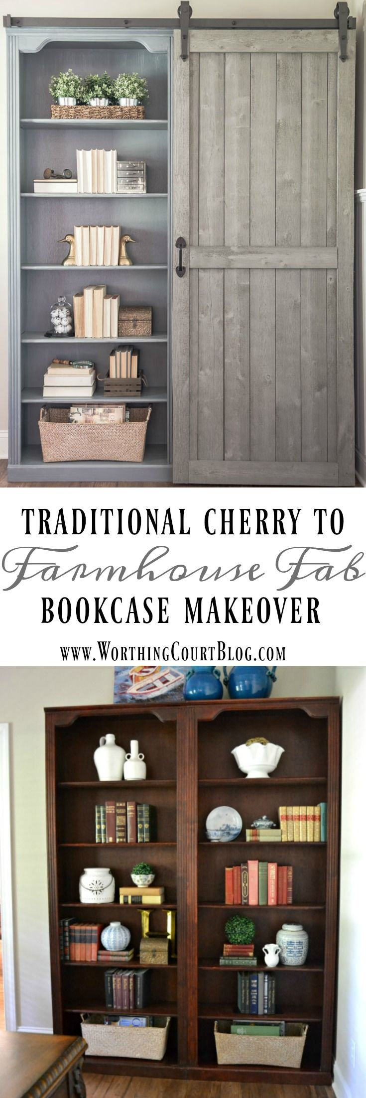 Bookcase Makeover - Traditional Cherry To Farmhouse Fab