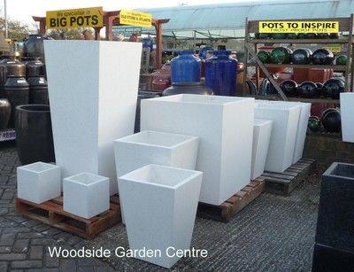 Extra Large Tall White Terrazzo Square Taper P*T Planters 400 x 300