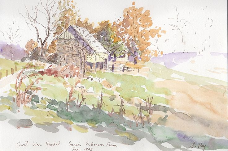 "Civil War Hospital, Sarah Patterson Farm, Gettysburg by Simonne Roy Watercolor & Ink ~ 7"" x 10"""