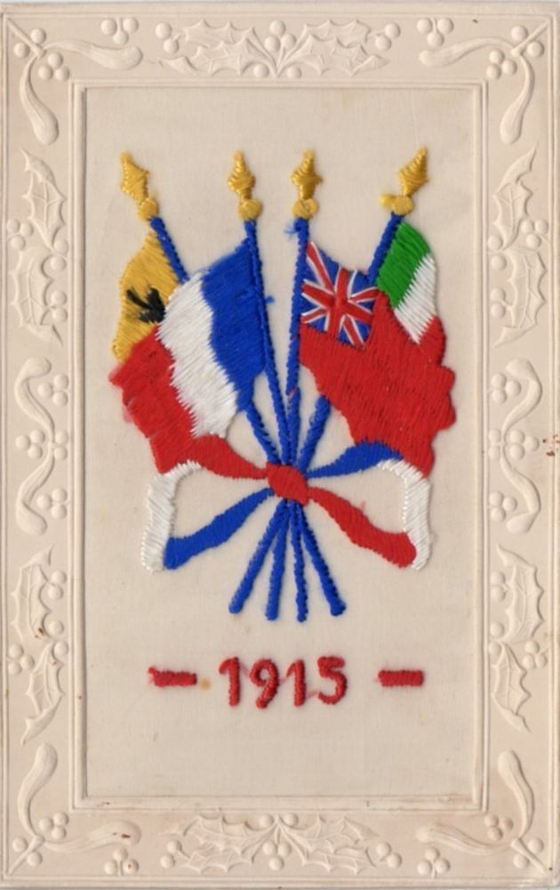 1914 - 1918: EMBROIDERED PATRIOTIC WW1 SILK POSTCARD