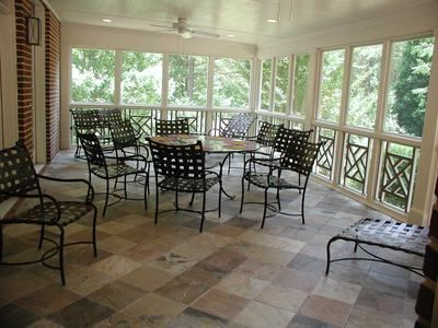 Bead board ceiling screened porch with slate tile floor for Covered porch flooring options