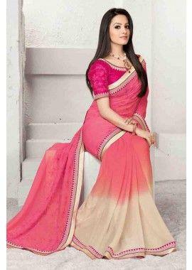 Pink Georgette Saree, - £49.00, #Fashion #SariOnline #BollywoodFashion #Shopkund