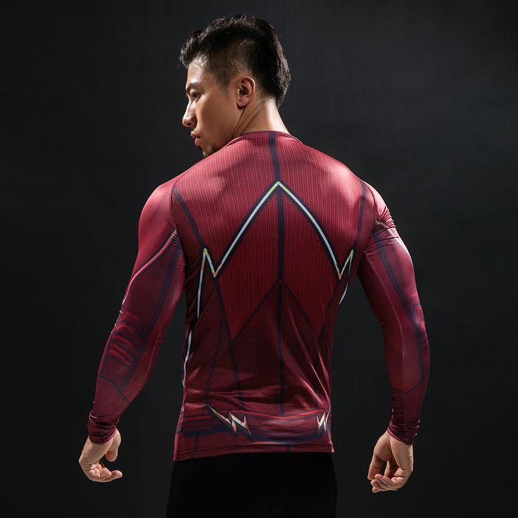Camisa de compresión de flash 3d camisetas impresas hombres raglan manga larga superman flash cosplay fitness clothing tops masculinos en Camisetas de Ropa y Accesorios en AliExpress.com | Alibaba Group